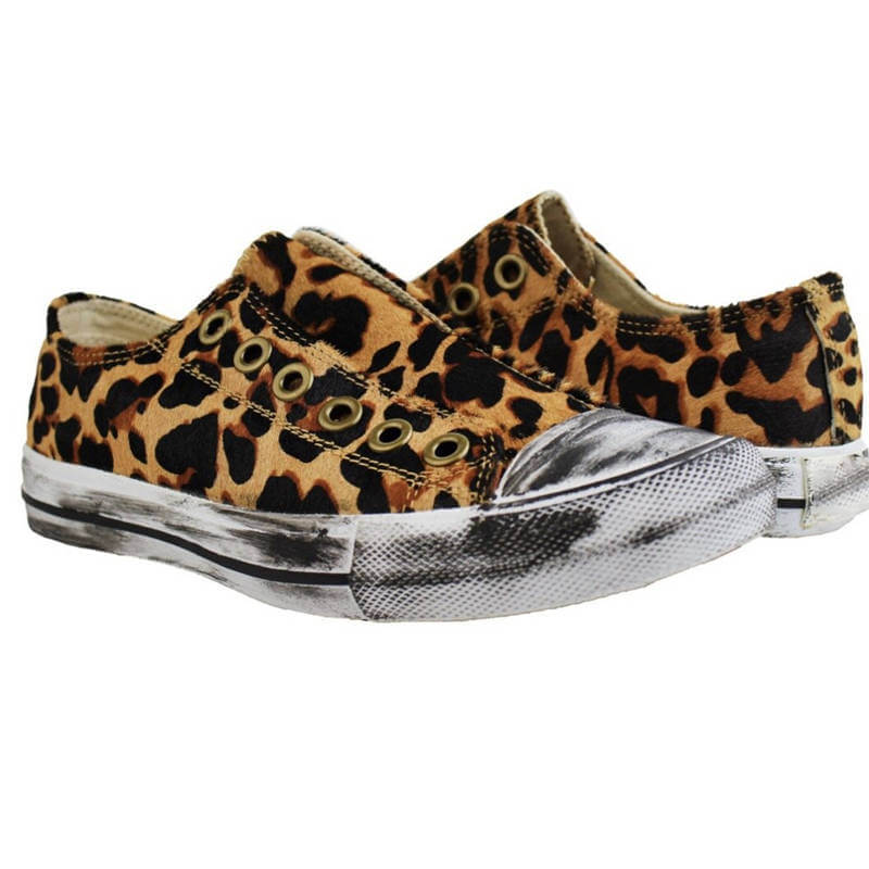 Women Canvas Leopar Slip On Flat Heel Sneakers