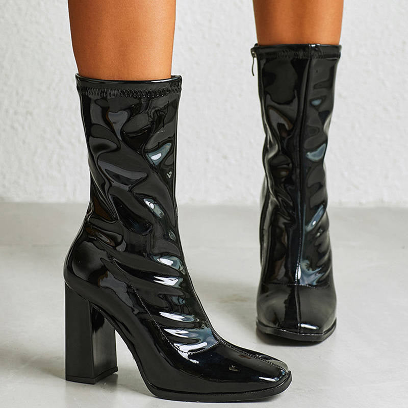 Women Trendy Snake Pattern Comfy Artificial Leather Chunky Heel Boots