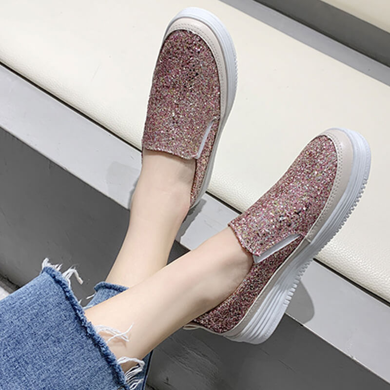Women Casual All Season Rhinestone Slip On Flat Loafers