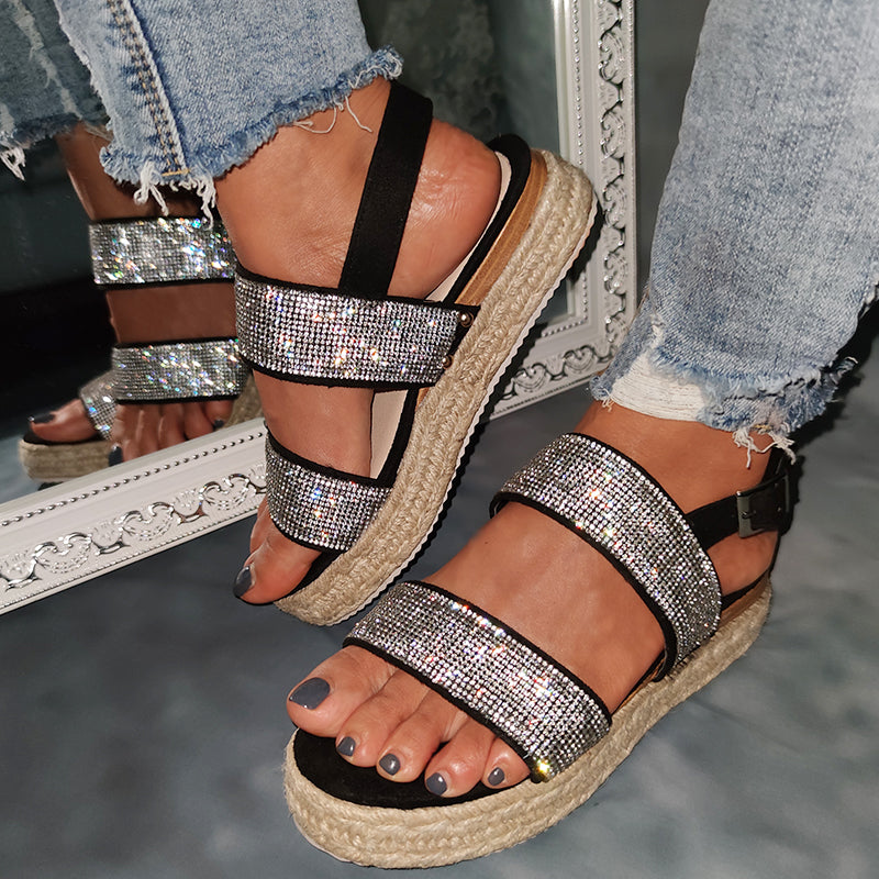 Women Large Size Casual Rhinestone Weaving Wedge Sandals