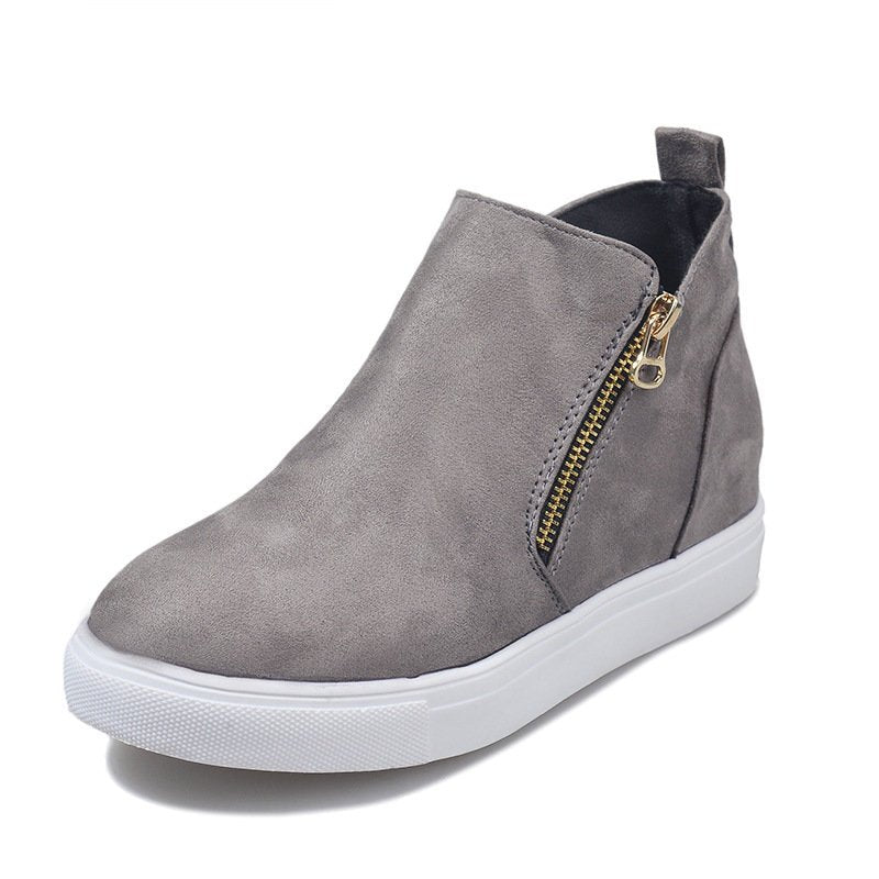 Women Simple Casual Zipper Flat Heel Suede Boots