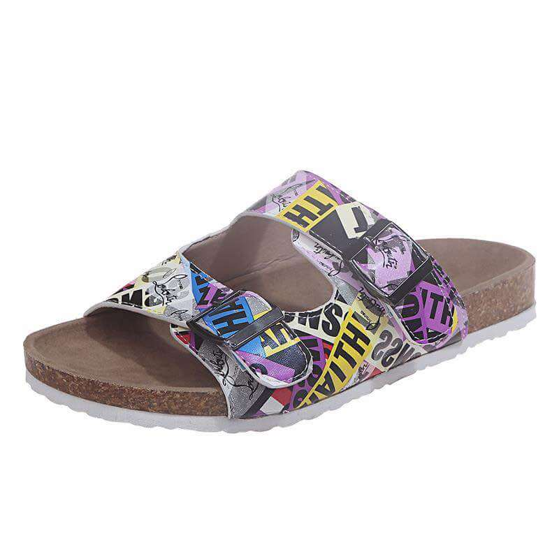 Women Printing Hit Color Open Toe Slip On Flat Heel Slippers