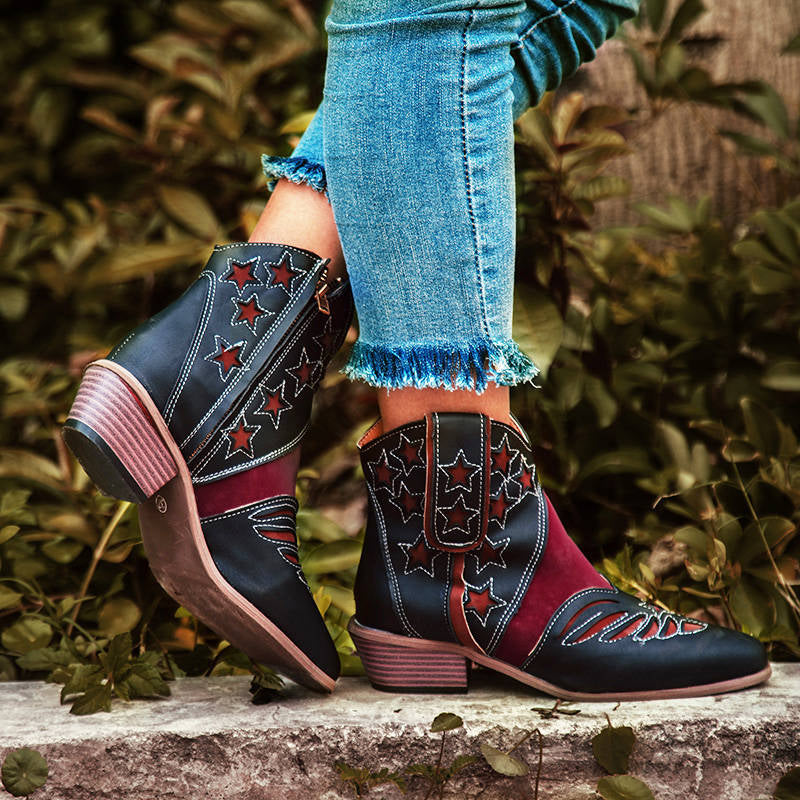 Women Retro Stars Pattern Mixed Colors Zipper Chunky Heel Cowboy Boots