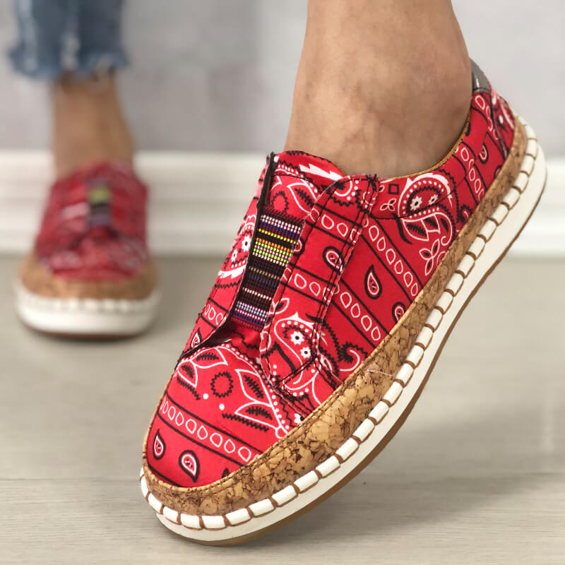 Women Fabric Characteristic Patterns Hit Color Slip On Platform Loafers