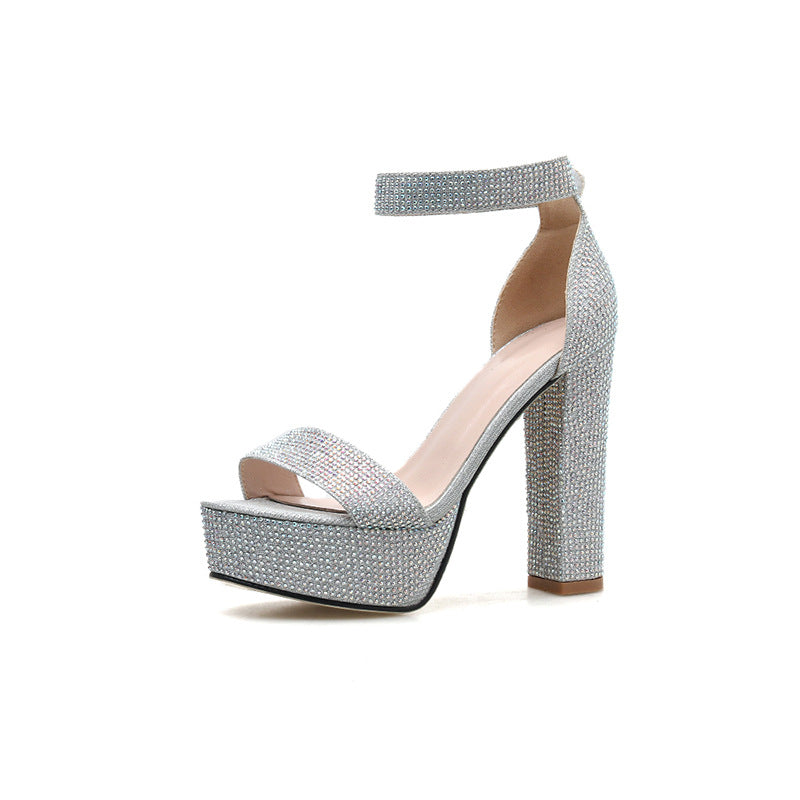 Women Fashion Peep Toe Line-Style Buckle Chunky Heel Ankle Strap Sequin Sandals