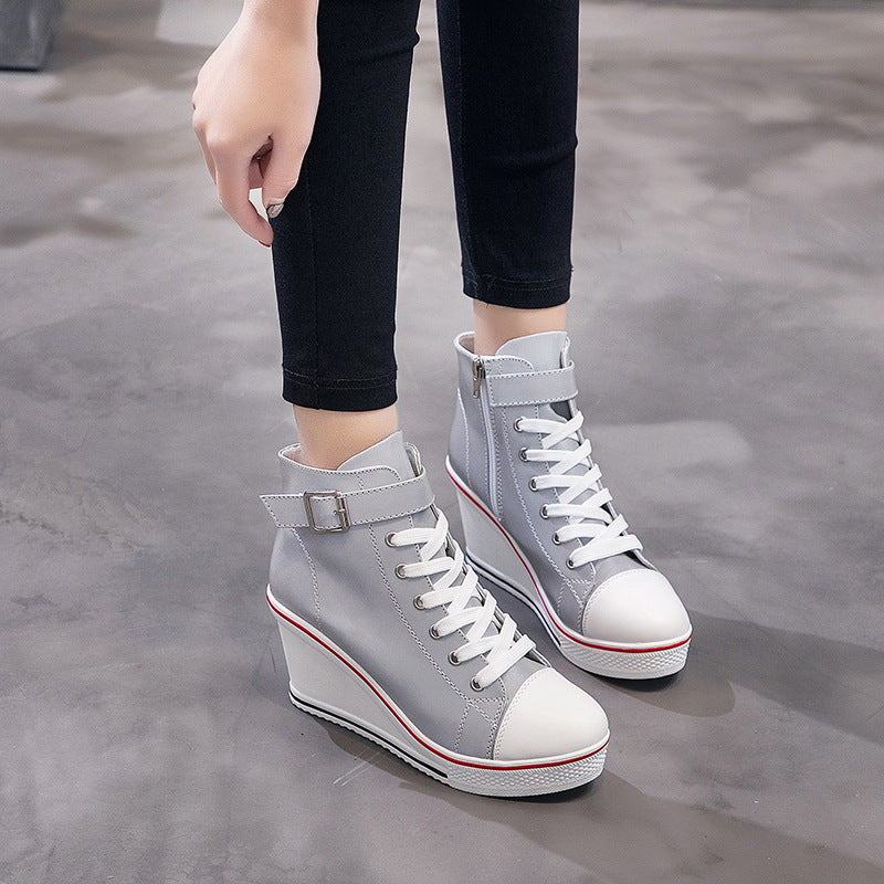 Women Canvas Lace-Up Wedge Heel Side Zipper Sneakers