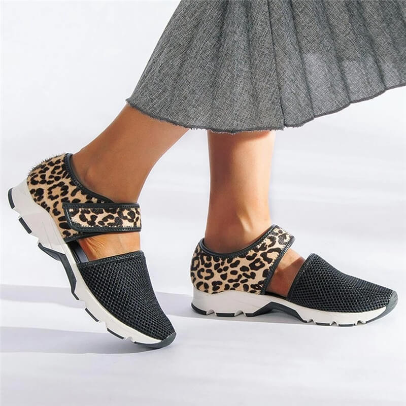Women Fabric Hollow-out Leopard/Zebra Velcro Flat Heel Walking Sandals