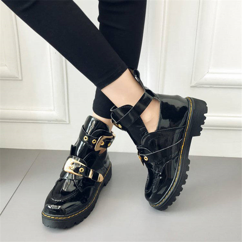 Women Shiny Golden Buckle Decor Hollow-out Ankle Boots
