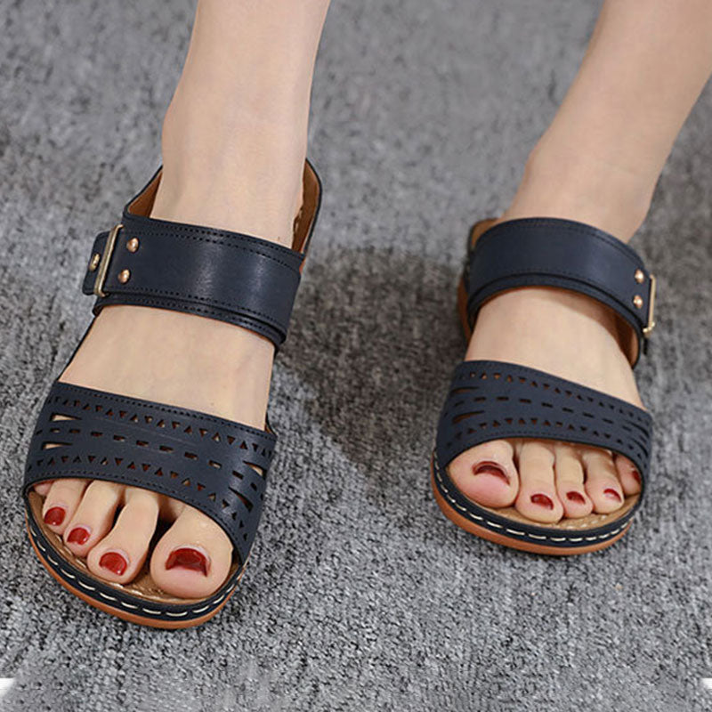 Women Casual Large Size Cutout Wedge Slippers