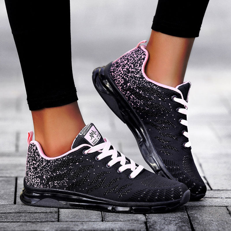 Women Athletic Flyknit Fabric Hit Color Lace-up Platform Sneakers