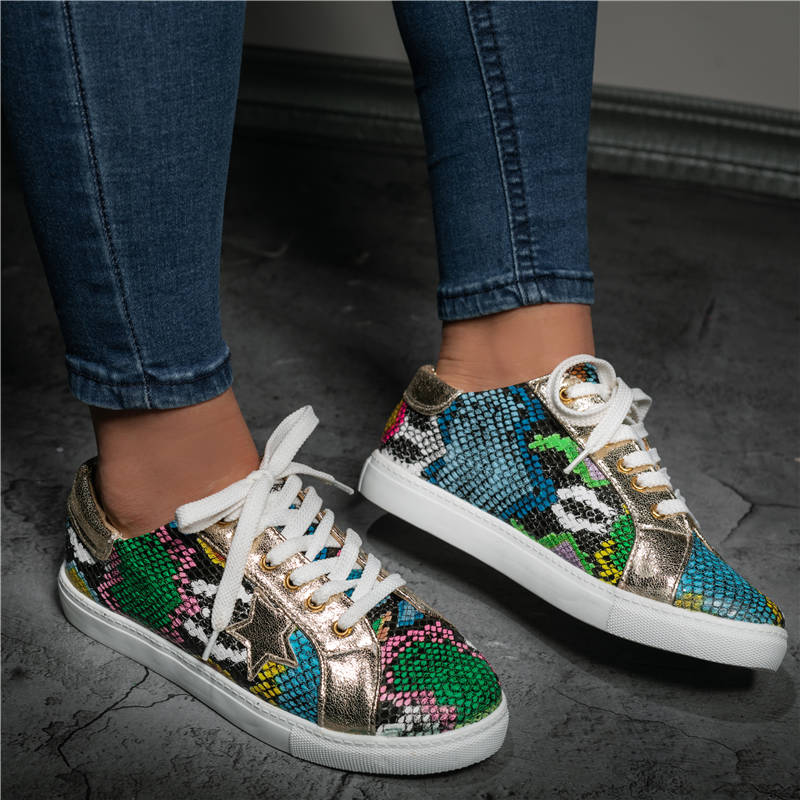 Women Comfy Daily Lace-up/Slip-on Multi Snake Sneaker