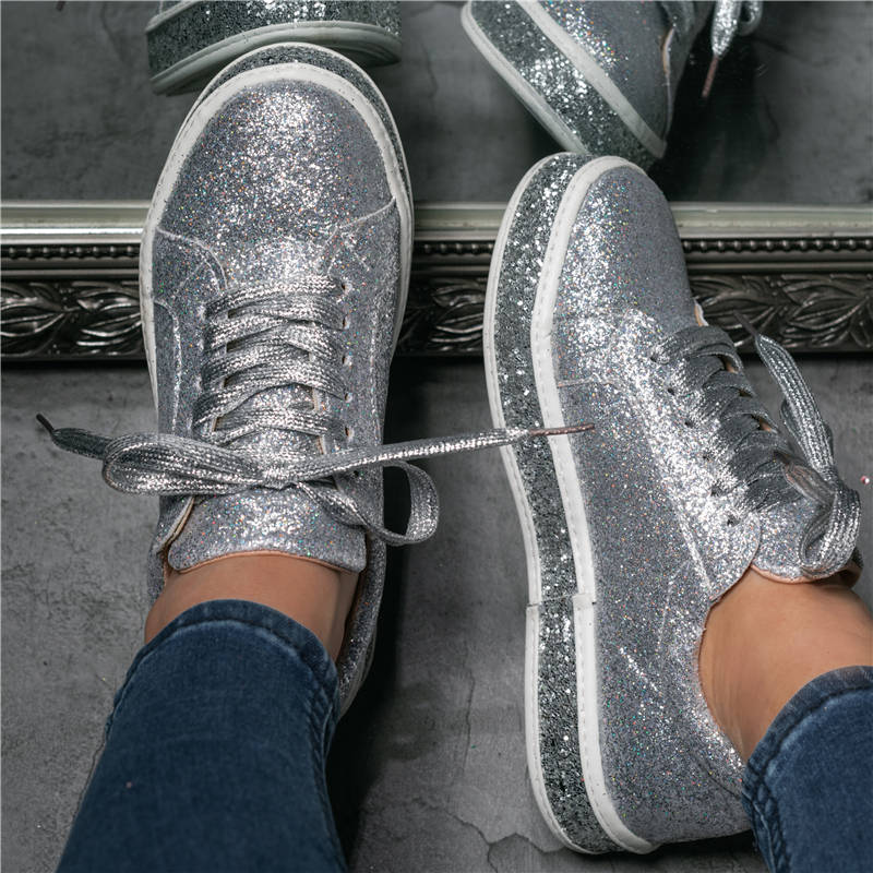 Women Fashion Rhinestone Sequins Lace Up Sneakers