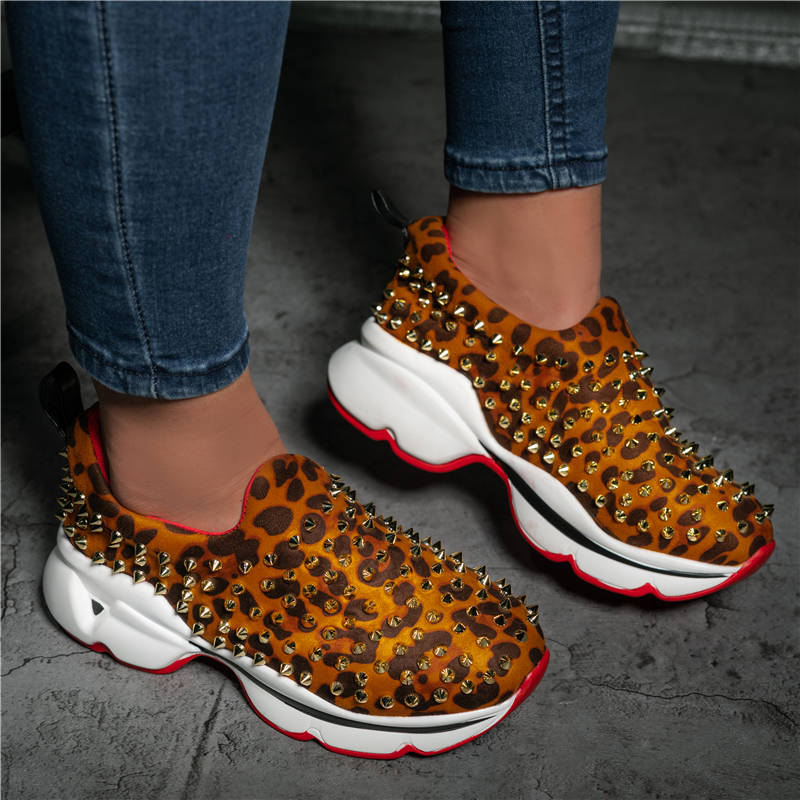 Women Fashion Athletic Microfiber fabric Rivet Slip On Platform Sneakers