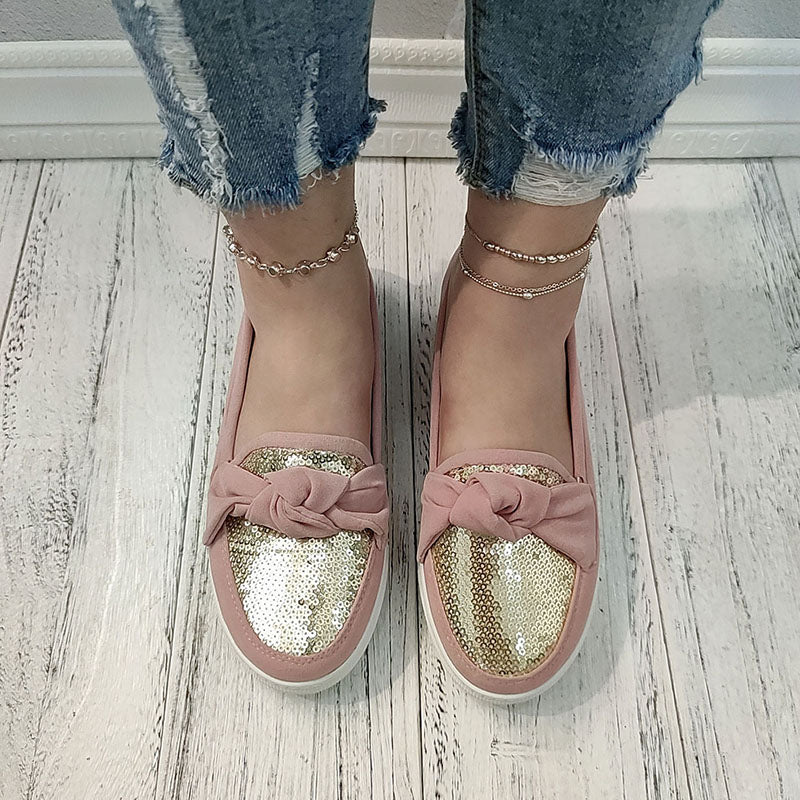 Women Bowknot Sequin Slip On Flat Heel Skate Shoes