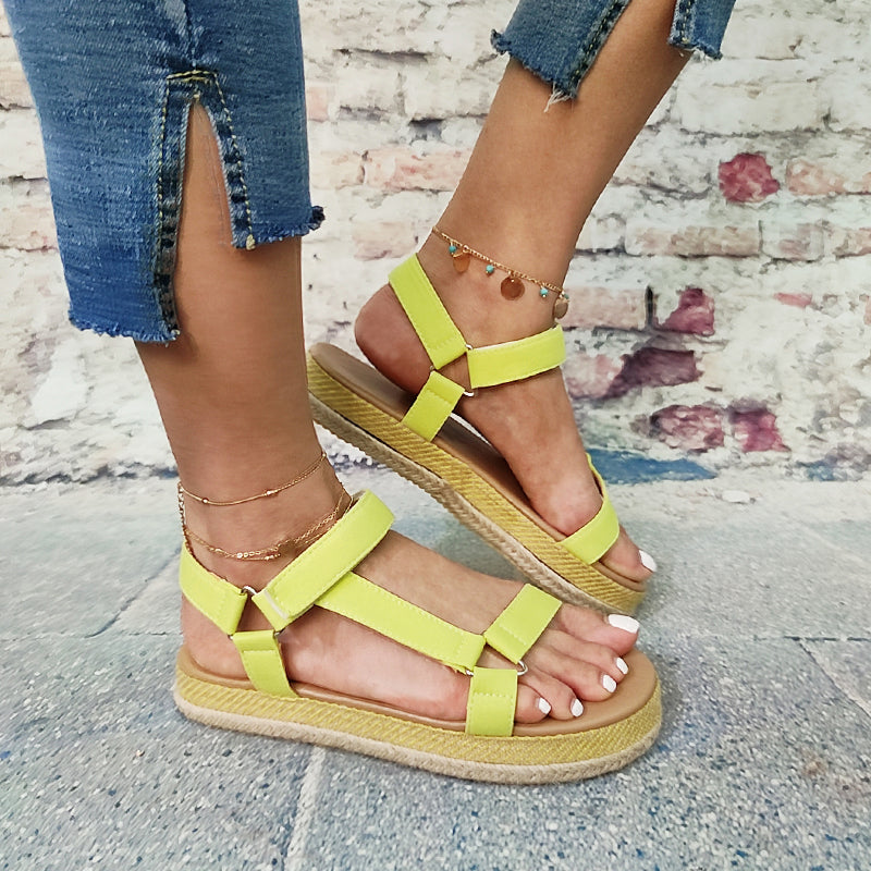 Women Patent Leather Open Toe Elastic Band Creepers Platform Sandals