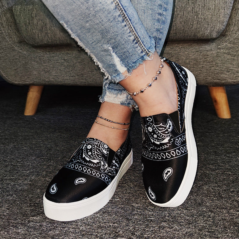 Women Fabric Characteristic Pattern Slip On Platform Skate Shoes
