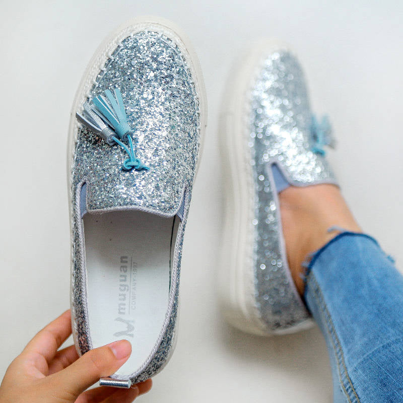 Women Shining Rhinestone Tassel Slip On Platform Loafers