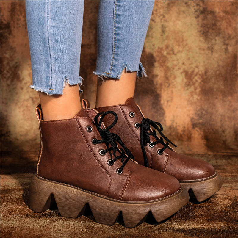 Women Simple Durable Lace Up Platfrom Boots