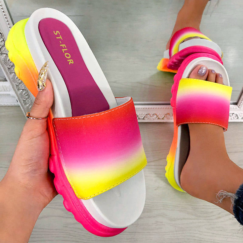 Women Comfy Colorful Open Toe Slip On Platform Slippers