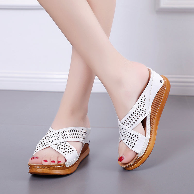 Women Cross-strap Fashion  Slip On Platform Slippers