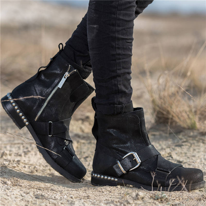 Women Stylish Rivet Buckle Strap Zipper Ankle Boots