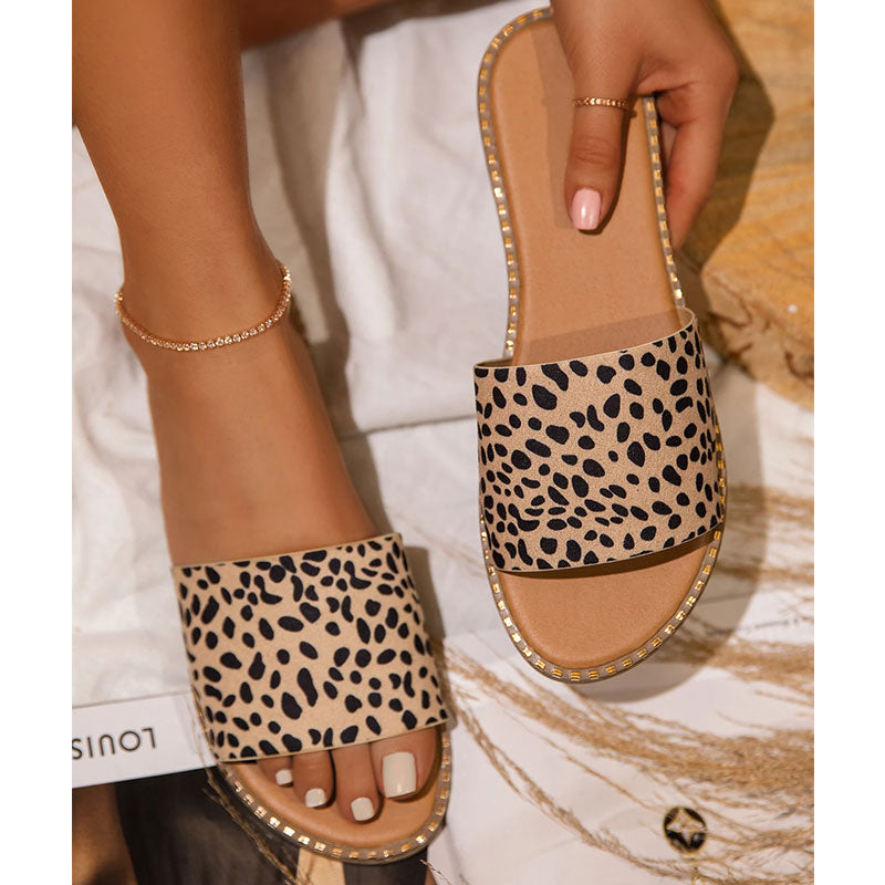 Women Casual Leopard Open Toe Slip On Flat Heel Slippers