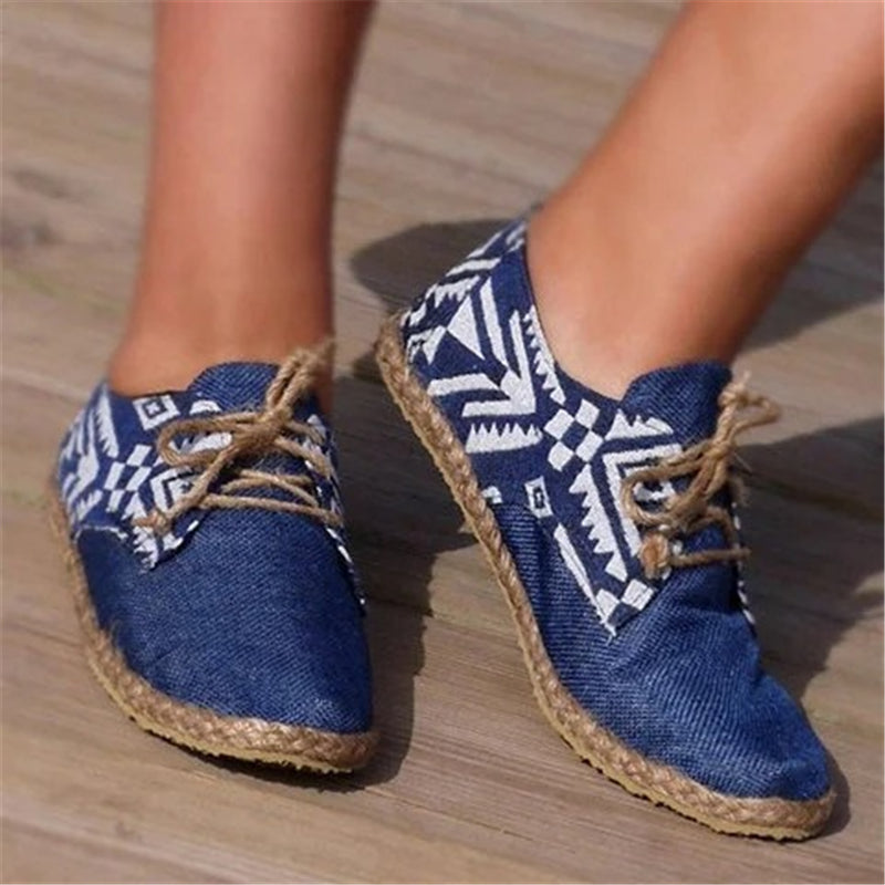 Women Cotton National Pattern Lace-up Flat Heel Espadrille Sneakers