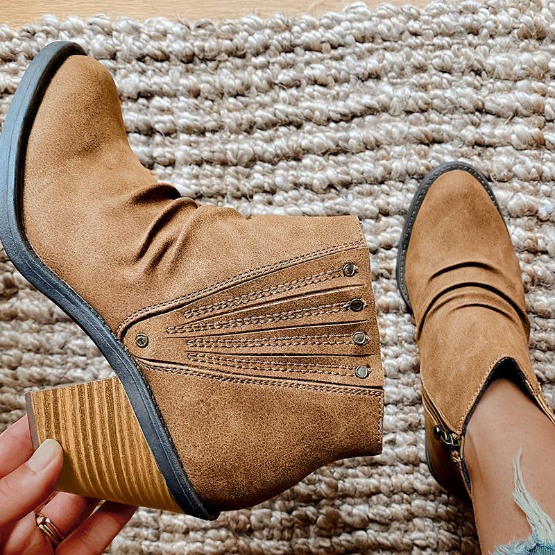 Women Retro Folds Upper Zipper Chunky Heel Boots