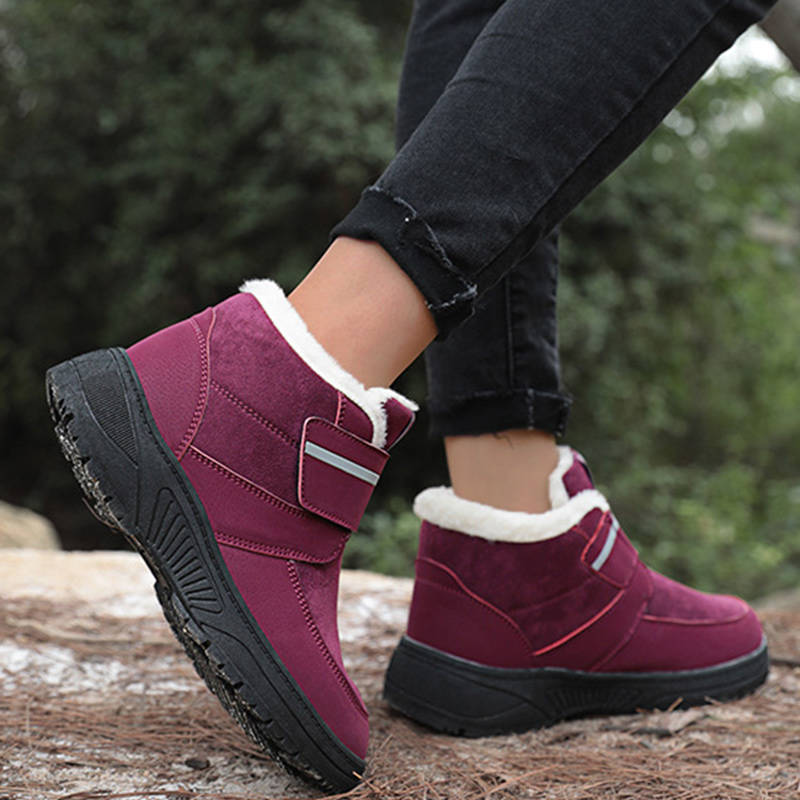 Women Warmth Elastic Inner Fur Velcro Cotton Shoes