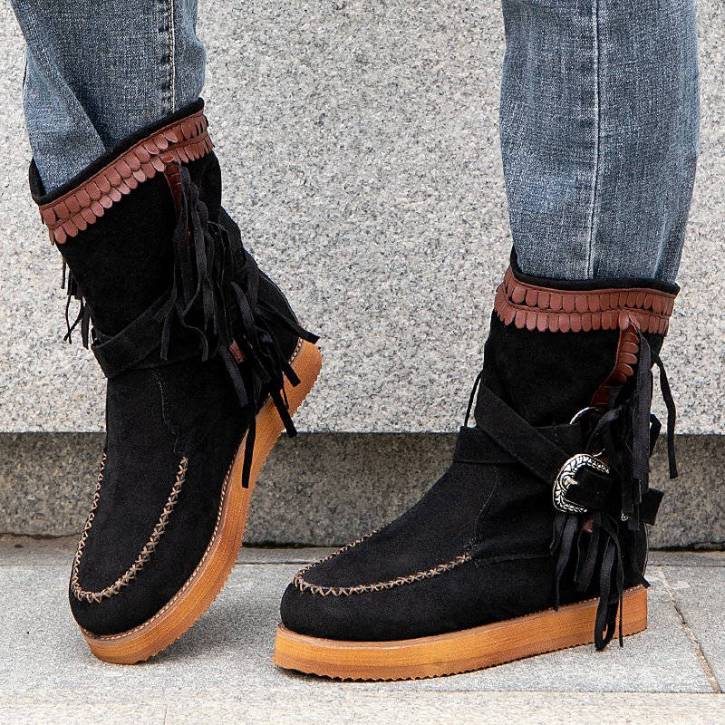 Women Fashion Plus Size Buckle Tassel Slip On Low Heel Moccasin Boots