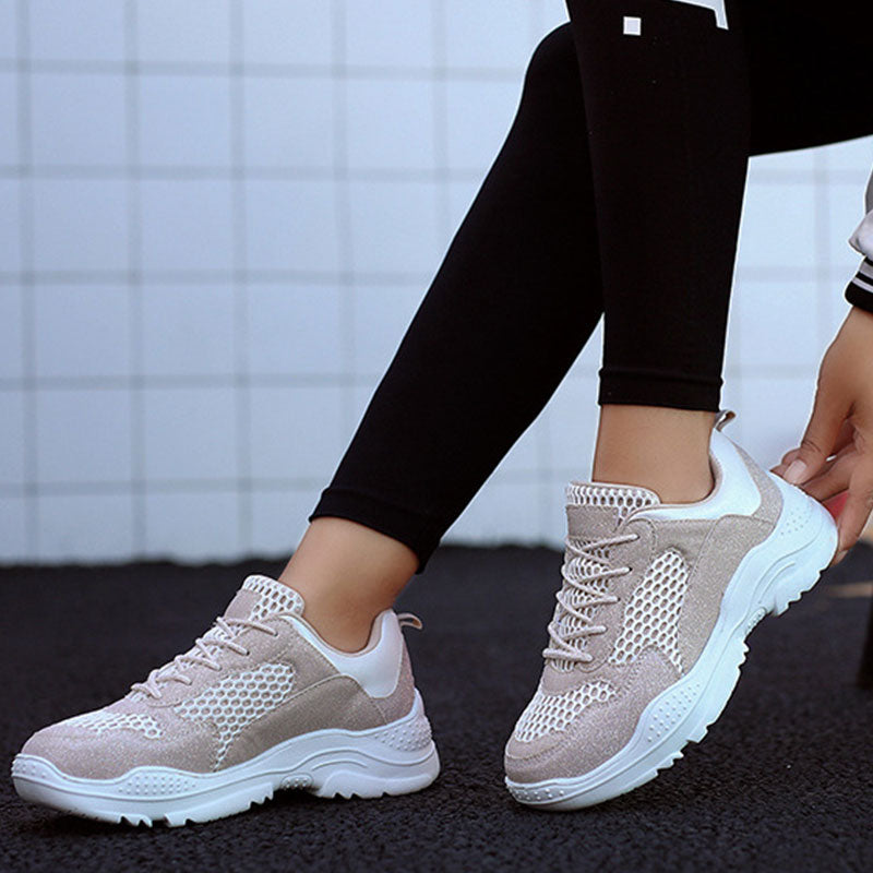 Women Athletic Fabric Splice Lace-up Platform Sneakers