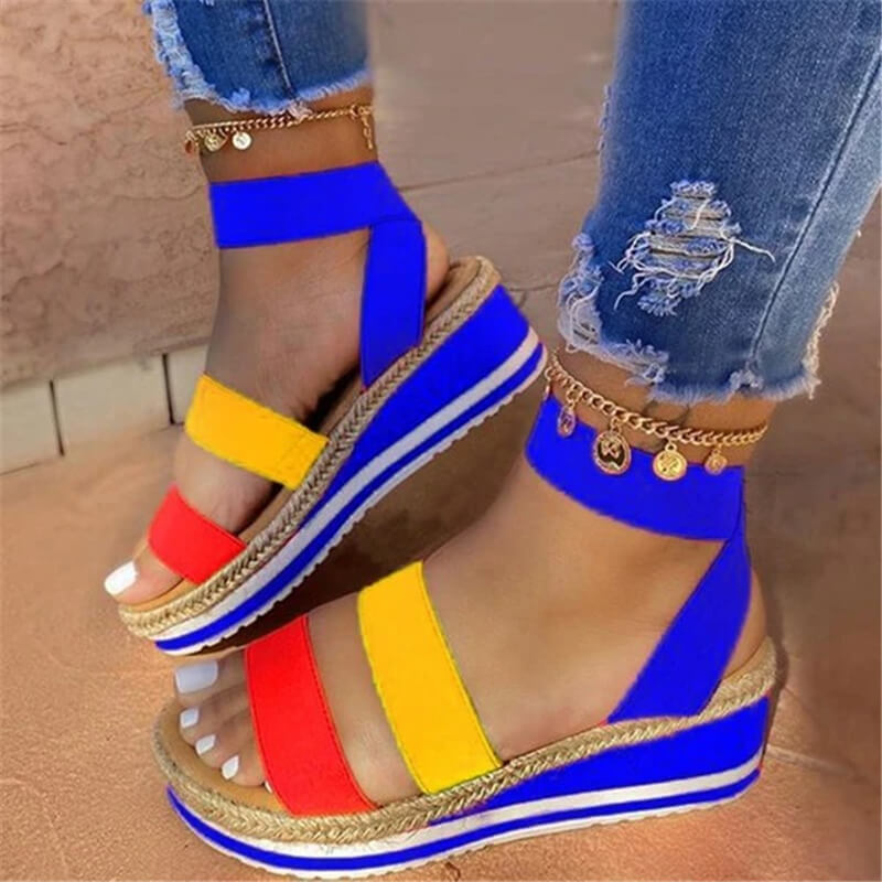 Women Fabric Multicolor Elastic Band Open Toe Wedge Heel Sandals