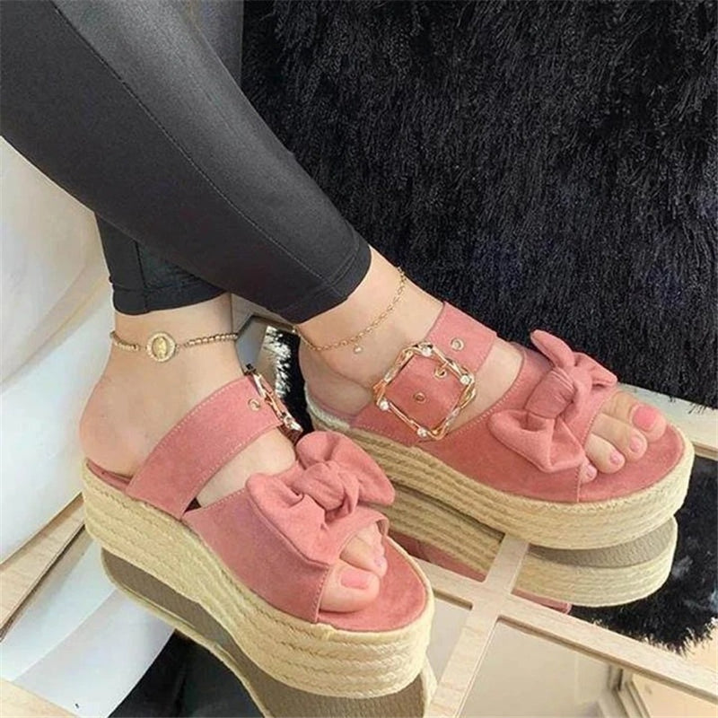 Women Bowknot Open Toe Slip On Espadrille Platform Slippers