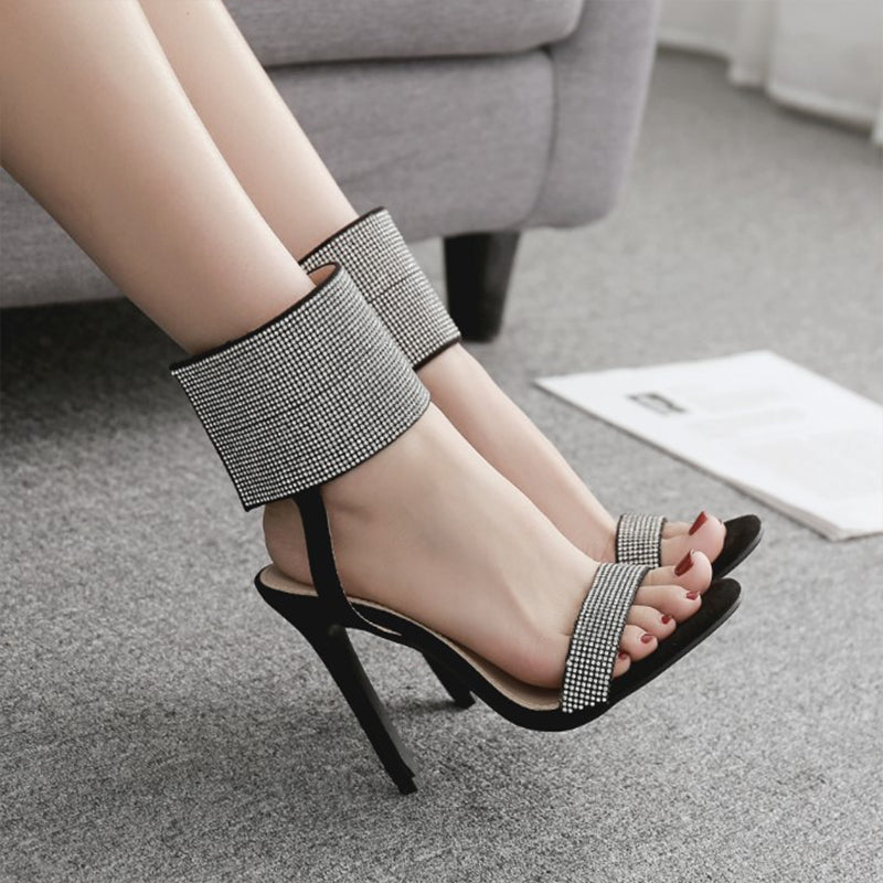 Women Fashion Rhinestone Velcro Stiletto Heel Sandals