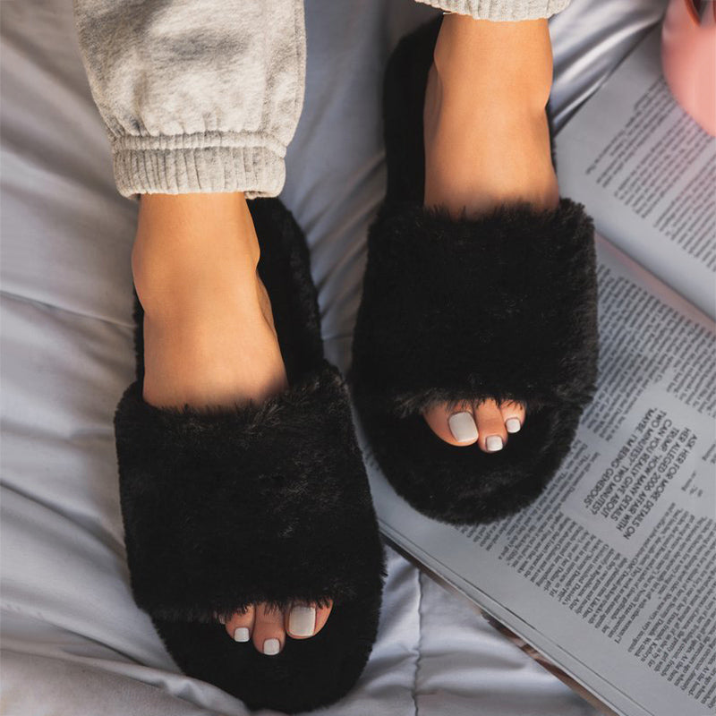 Women Large Size Fluffy Fluff Flat Slippers