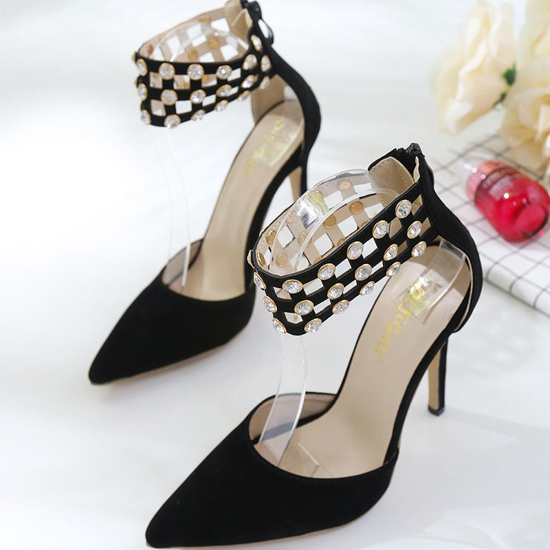 Women Fashion Rhinestone Stiletto Heel Sandals