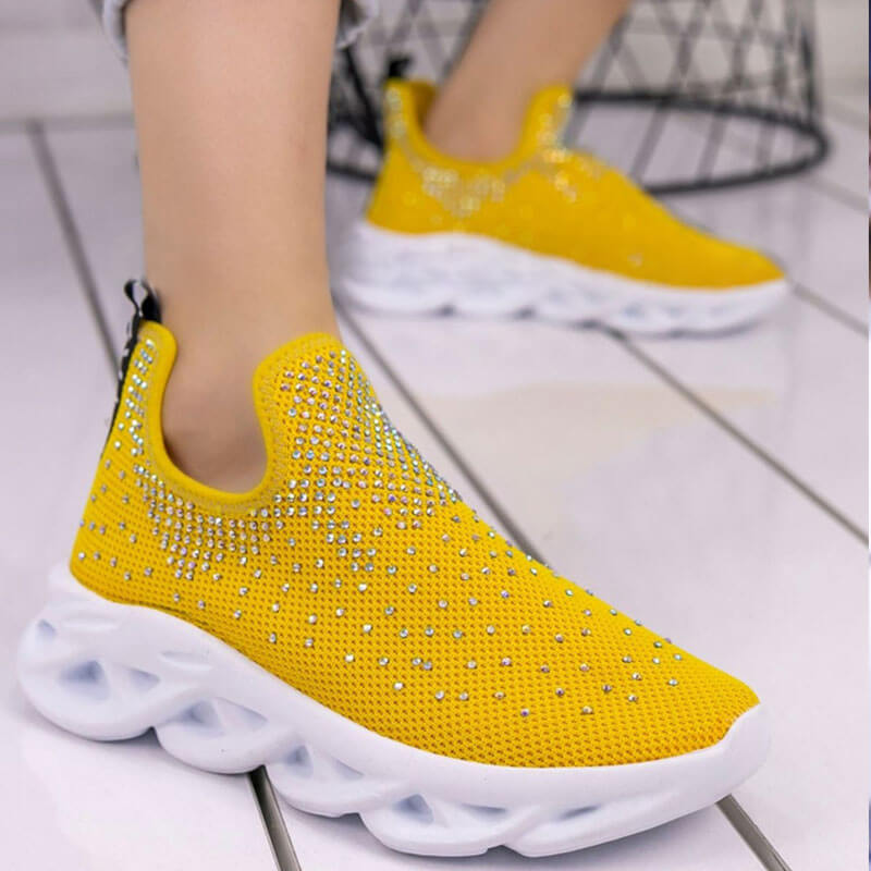 Women Fashion Comfy Bling Paillette Slip On Platform Sneakers