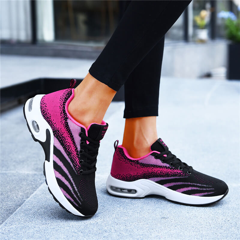 Women Athletic Flyknit Fabric Hit Color Air Cushion Sneaker