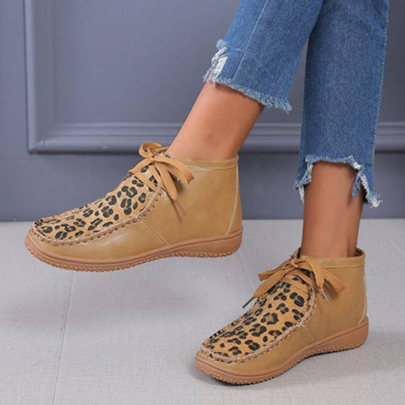 Women Chic Leopard Mixed Colors Split Joint Lace Up Boots