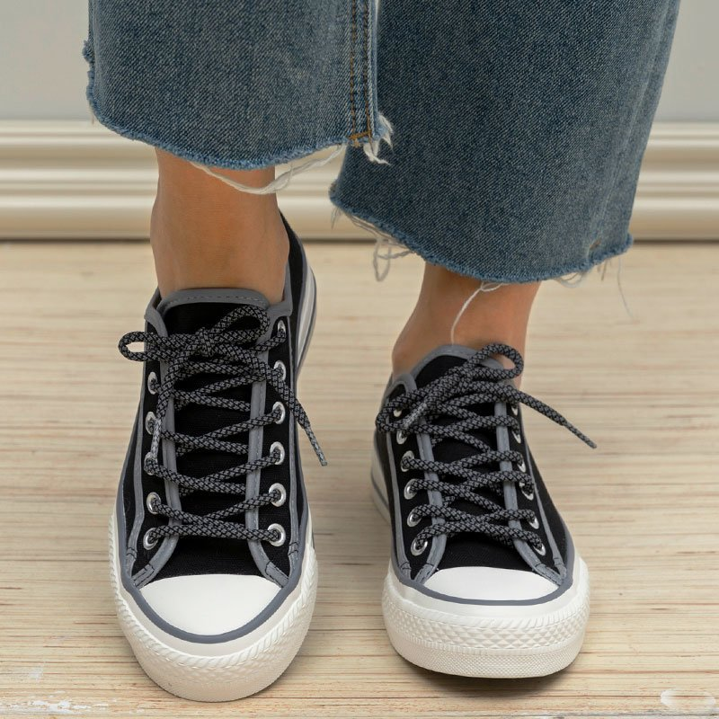 Women Outdoor Casual Lace Up Flat Heel Canvas Sneakers