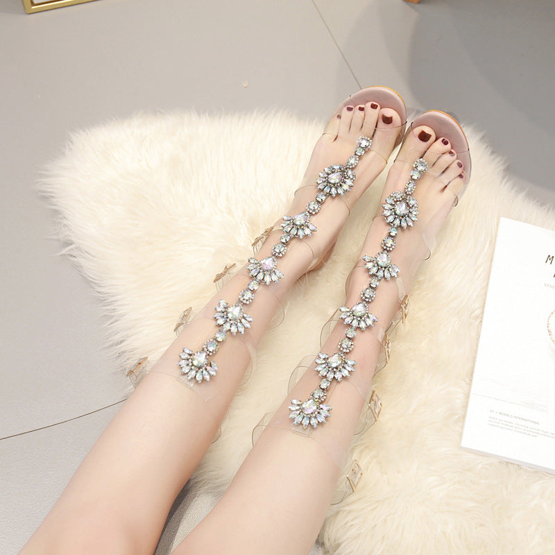 Women Fashion Button Slip On Stiletto Heel Sandals