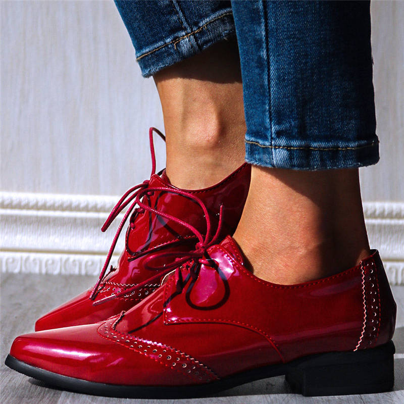 Women Chic Pointed Toe Lace Up Low Heel Oxfords Shoes