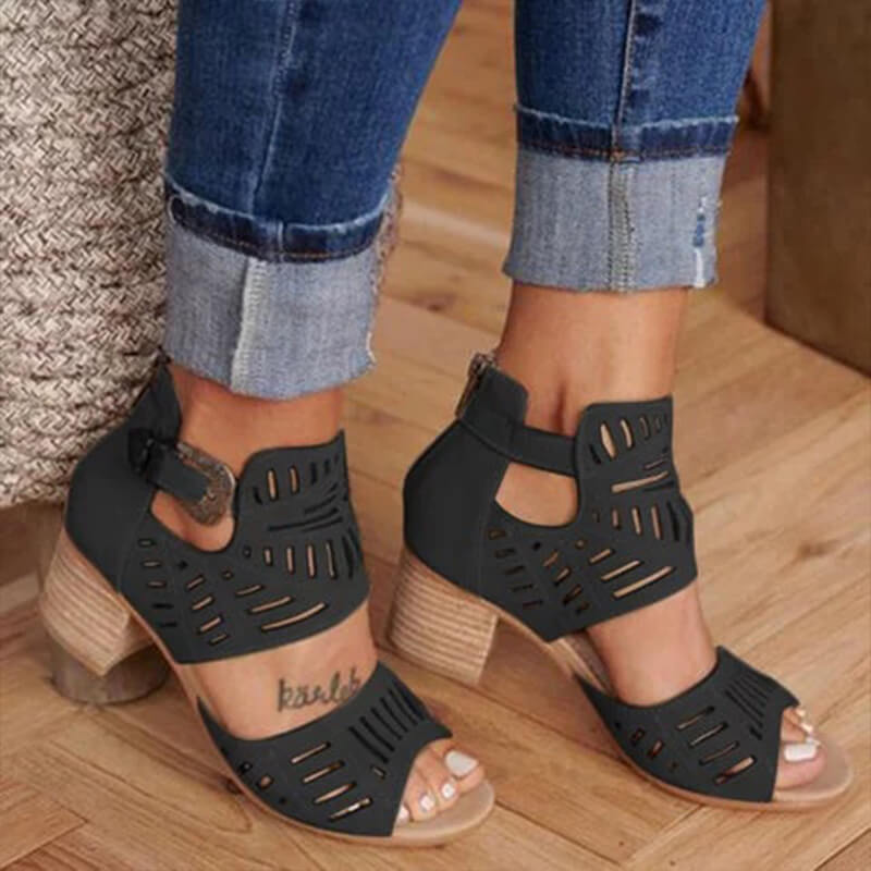 Women Casual Back Zipper Hollow Out Chunky Sandals
