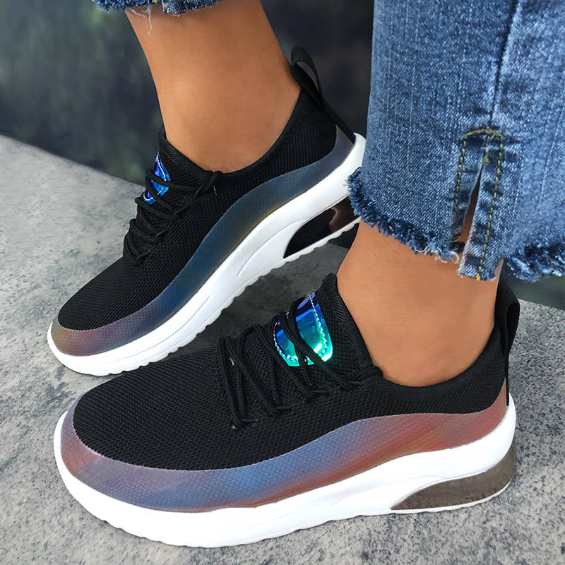 Women Athletic Color Bar Lace-up Platform Sneakers
