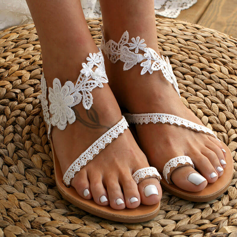 Women Casual Large Size Lace Flower Pattern Slippers