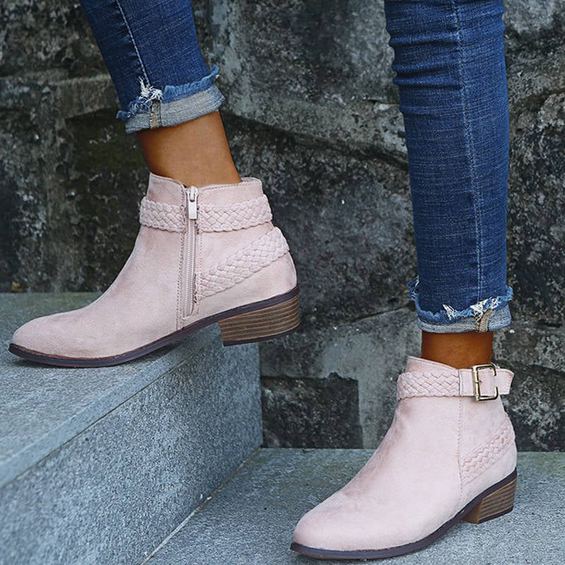 Women Simple Solid Color Braided Strap Zipper Chunky Heel Boots