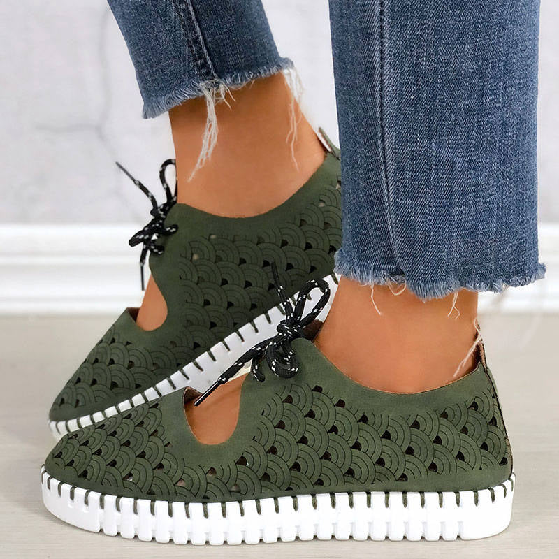 Women Casual Waves Pattern Hollow-out Lace Up Breathable Platform Loafers