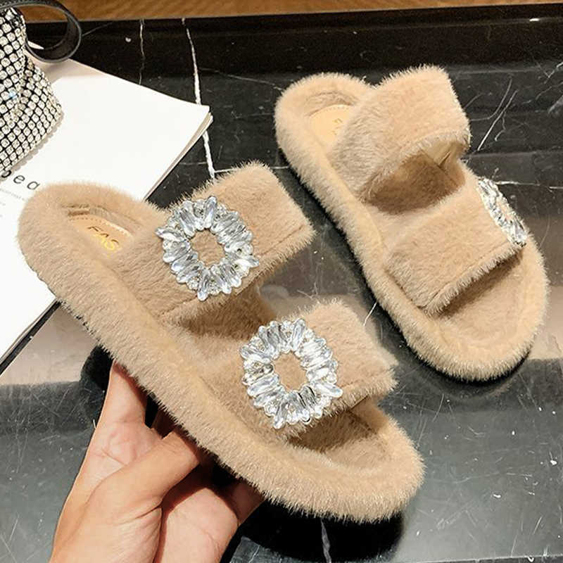 Women Comfy Fuzzy Artificial Fur Rhinestone Buttoned Flat Heel Slippers