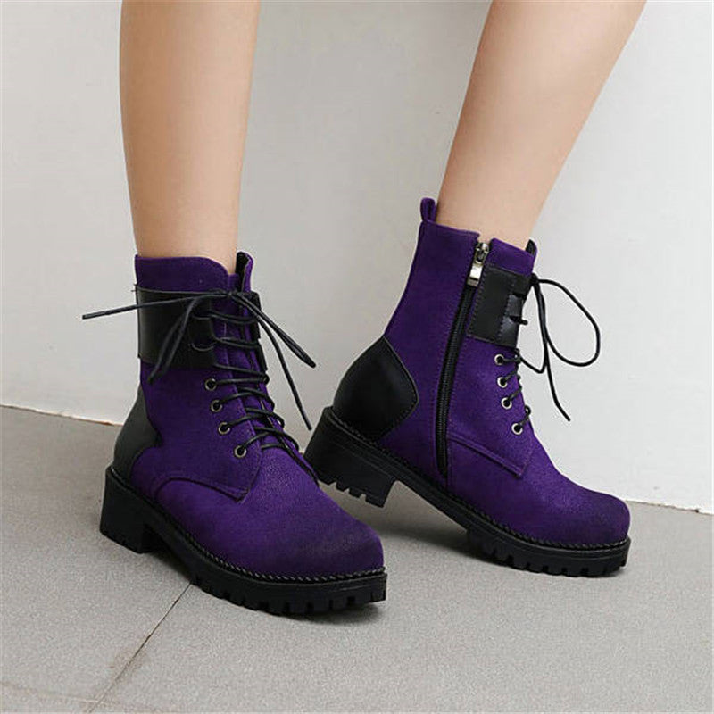 Women Fashion Hit Color Lace Up Zipper Platform Boots