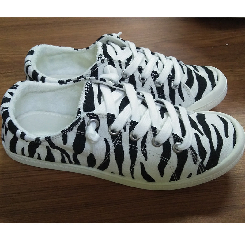 Women Athletic Canvas Zebra Lace-up Flat Heel Sneakers